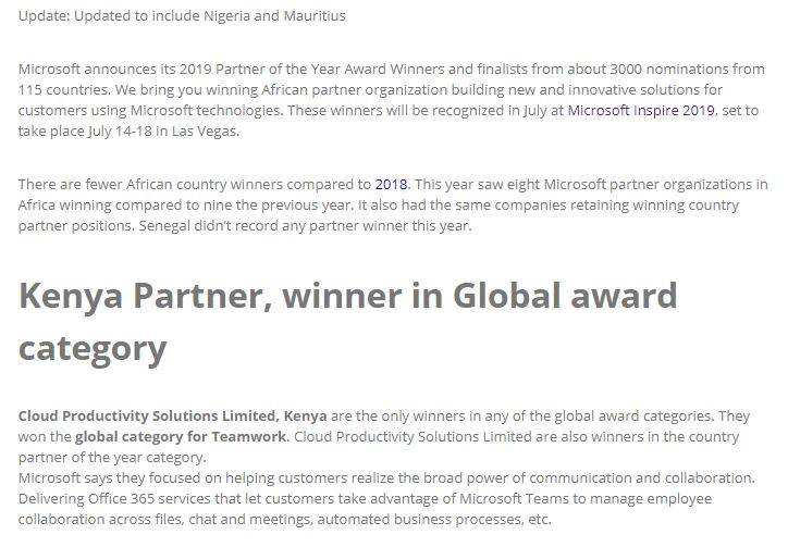 Only African Partner in Global Category